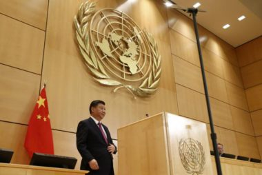 Chinese President Xi delivers a speech during a high-level event in the Assembly Hall at the United Nations European headquarters in Geneva