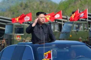 North Korea's leader Kim Jong Un watches a military drill marking the 85th anniversary of the establishment of the Korean People's Army