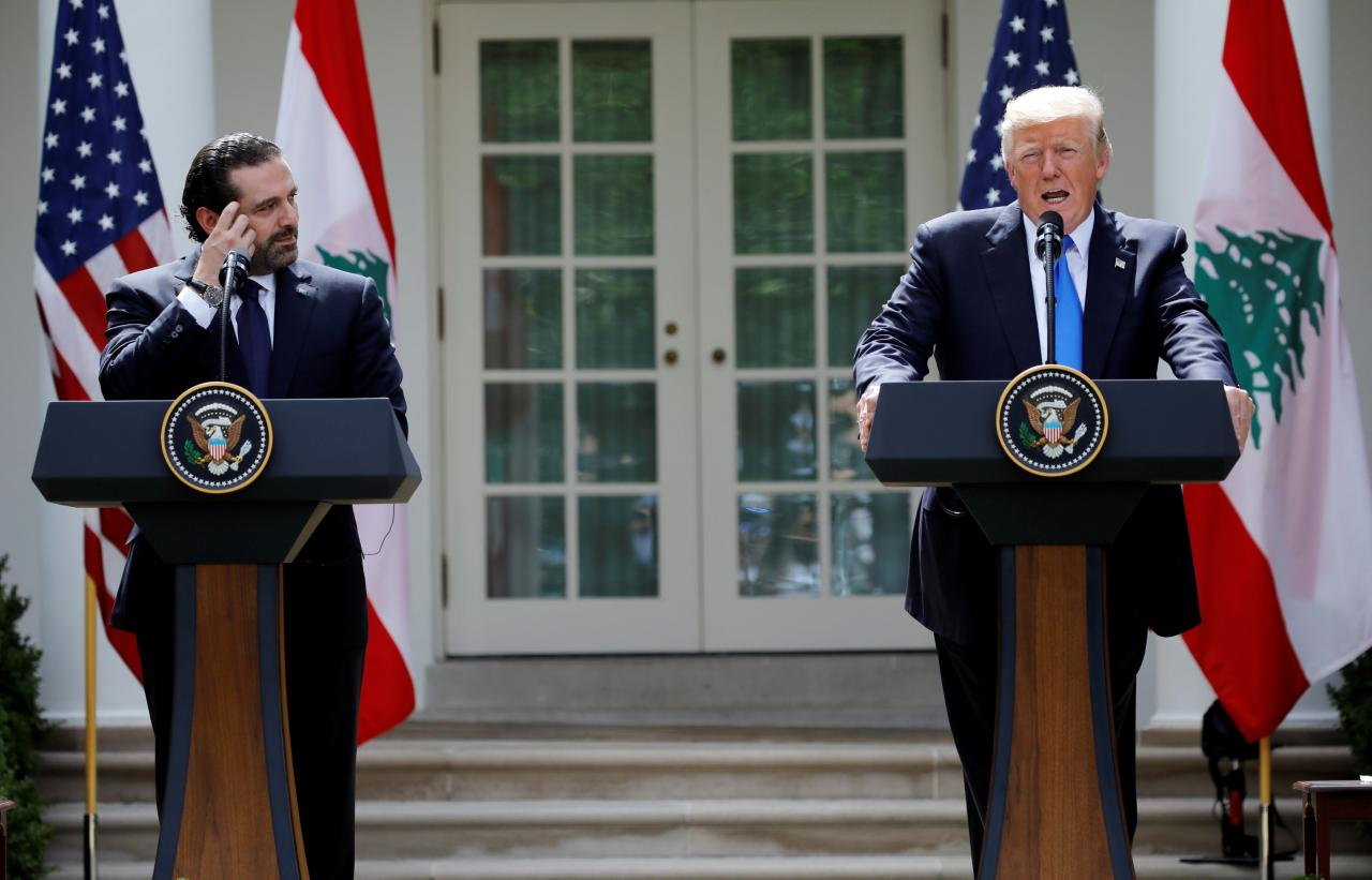 U.S. President Donald Trump speaks during a press conference with Lebanese Prime Minister Saad al-Hariri in the Rose Garden of the White House in Washington, U.S.
