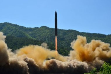 FILE PHOTO: The intercontinental ballistic missile Hwasong-14 is seen during its test in this undated photo released by KCNA in Pyongyang
