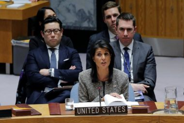 United States ambassador to the United Nations (UN) Nikki Haley speaks during a meeting of the UN Security Council to discuss a North Korean missile launch at UN headquarters in New York