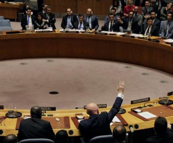 Russian Ambassador to the United Nations Vasily Nebenzya votes for a Russian resolution during a meeting of the U.N. Security Council to vote on a bid to renew an international inquiry into chemical weapons attacks in Syria, at the U.N. headquarters in New York, U.S., November 16, 2017. REUTERS/Lucas Jackson