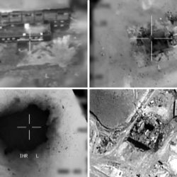 This combination of pictures created on March 20, 2018 of handout images provided by the Israeli army reportedly shows an aerial view of a suspected Syrian nuclear reactor during bombardment in 2007. Israel's military admitted for the first time on March 20 responsibity for a 2007 air raid against a suspected Syrian nuclear reactor, a strike it was long suspected of carrying out. The admission, along with the release of newly declassified material related to the raid, comes as Israel intensifies its warnings over the presence of its main enemy Iran in neighbouring Syria. / AFP PHOTO / Israeli Army / -        (Photo credit should read -/AFP/Getty Images)