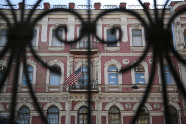 A view through a fence shows the building of the consulate-general of the U.S. in St. Petersburg