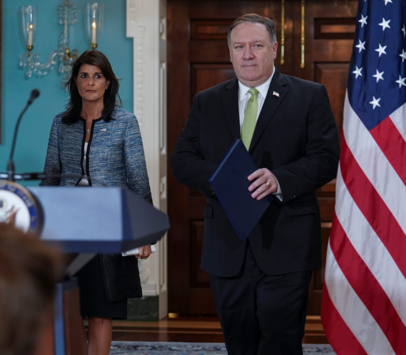 U.S. Secretary of State Mike Pompeo and U.S. Ambassador to the United Nations Nikki Haley arrive to a press briefing, announcing the U.S.'s withdrawal from the U.N's Human Rights Council at the Department of State in Washington, U.S., June 19, 2018. REUTERS/Toya Sarno Jordan