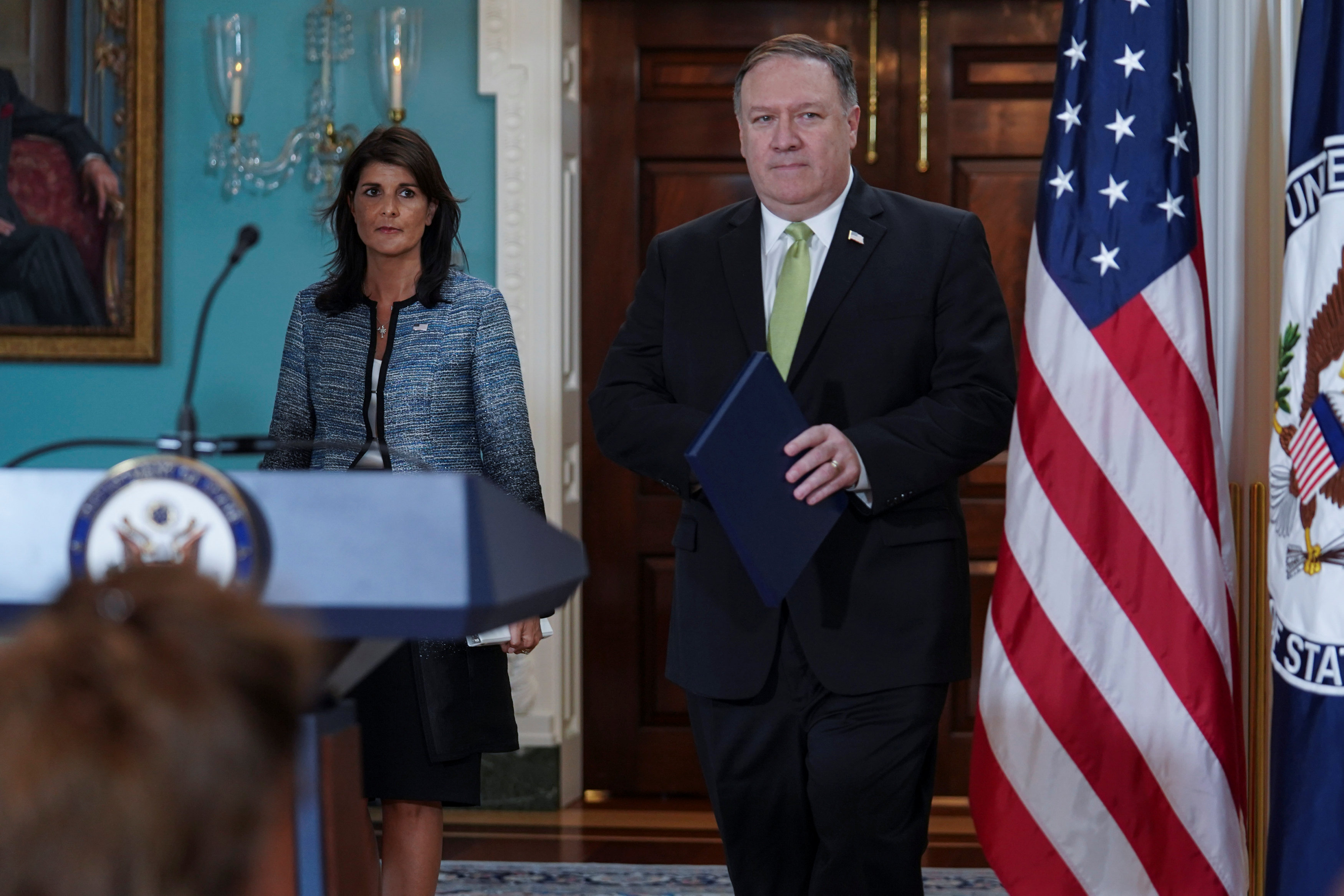 U.S. Secretary of State Mike Pompeo and U.S. Ambassador to the United Nations Nikki Haley arrive to a press briefing, announcing the U.S.'s withdrawal from the U.N's Human Rights Council at the Department of State in Washington