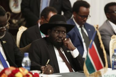 South Sudan's President Kiir attends urgent session for the Summit of the IGAD on South Sudan in Ethiopia's capital Addis Ababa