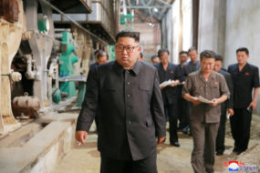 FILE PHOTO: North Korea's leader Kim Jong Un tours a factory in Sinuiju, North Korea
