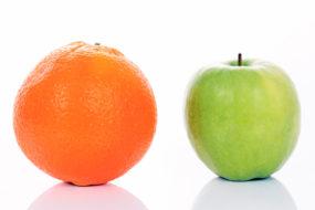 Apple and Orange isolated on white
