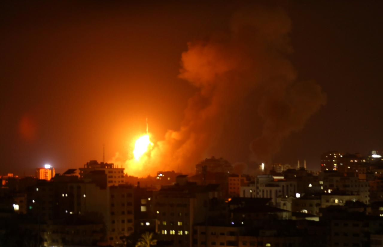 Explosion is seen during an Israeli air strike in Gaza City