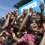 Rohingya refugee children shout slogans during a protest against the repatriation process on Thursday at Unchiprang refugee camp near Cox's Bazar, in Bangladesh.